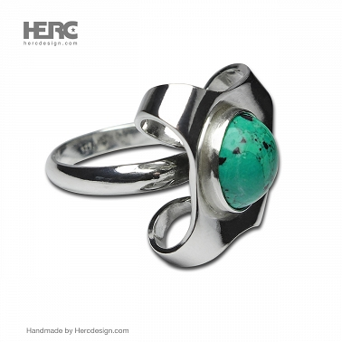 Silver ring with turquoise ring with stone