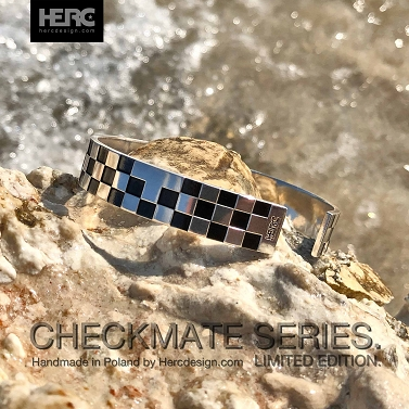 Bransoletka srebrna szachownica limited edition (checkmate series)