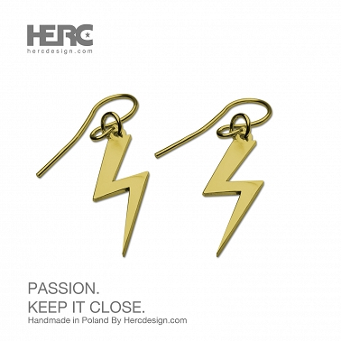 Lightning, lightning, dangling earrings (14K - 585 gold)