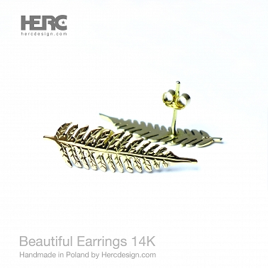 Stud earrings with ferns - 14K gold (585)